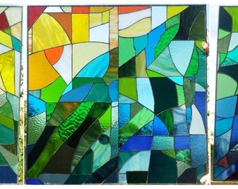 Stained glass Set of  Windows - Inspired by the Sagrada Familia (W-44)