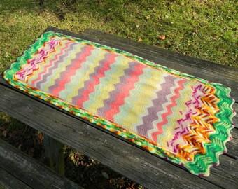 Funky Felted Rainbow Lap Afghan Blanket