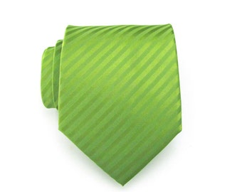 Mens Ties Necktie - Green Tone on Tone Striped Silk Tie