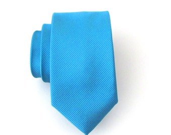 Mens Tie Skinny Tie - Teal Blue Tone on Tone Striped Skinny Necktie