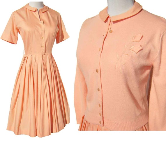 Vintage 60s Dress & Sweater Set Full Skirt Peach Cotton Shirtwaist Cardigan S / M