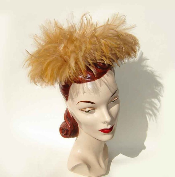 Vintage 50s Hat Feather Cocktail Pillbox Swirl Fawn - Saks Fifth Ave