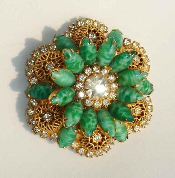Vintage Juliana Brooch DeLizza & Elster Green Jade Peking Glass Rhinestones Pin