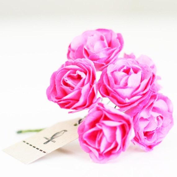 Wholesale 72 bubble gum pink paper flowers