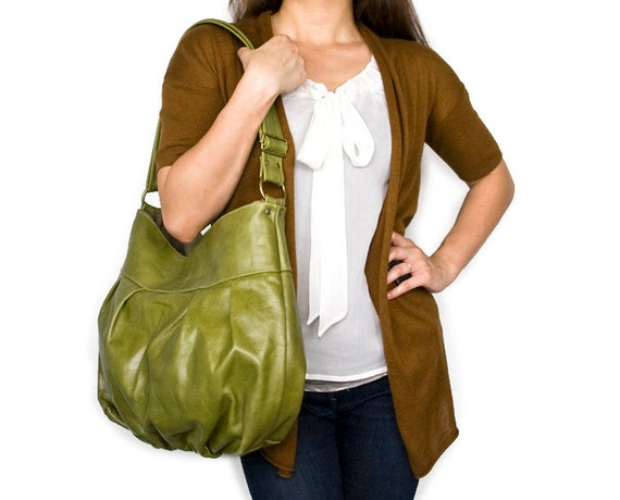 Baby Ruche Bag in Green Apple Leather - LAST ONE - Ready to Ship
