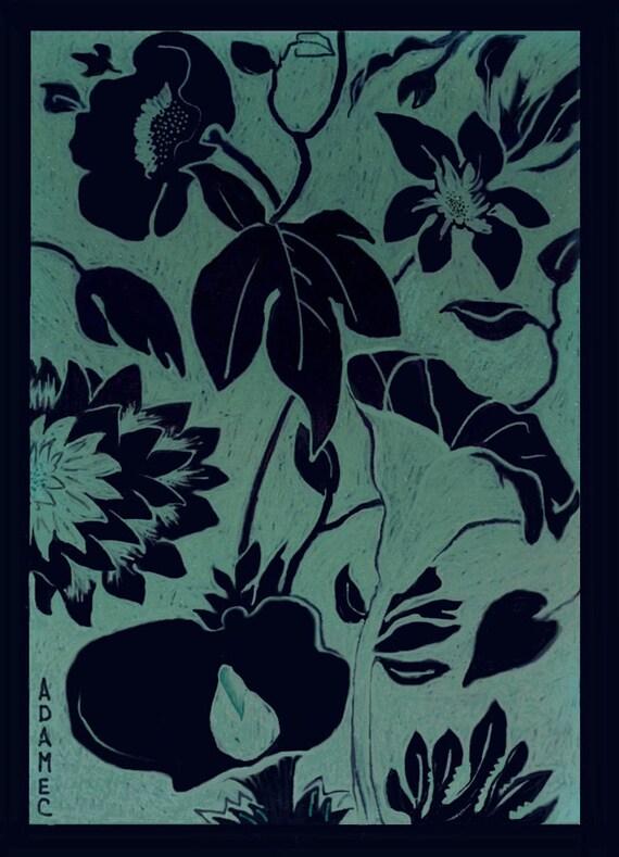 Original Digital Botanical Drawing, GARDEN VARIETIES 4, in 8x10 black or cream color mat, Ready to Frame