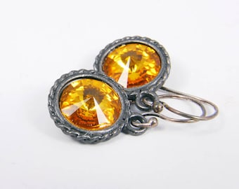 Dangle Earrings - Yellow Sunflower Earrings - Crystal Antique Gunmetal Jewelry Gift for Her Under 20