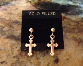 Yellow Gold Cross Earrings, 14k Gold Fill Posts.