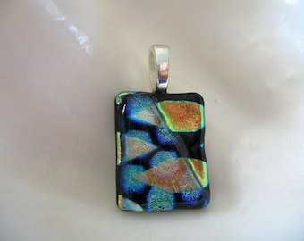 Gold, Teal, and Black Dichroic Pendant - Fused Glass