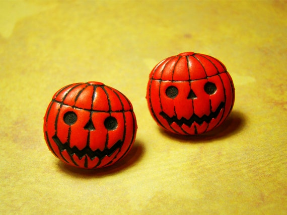 50% OFF SALE - Round Pumpkin Earrings