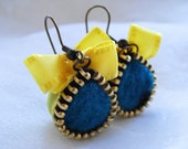 Felt Earrings, Zipper Earrings, Bows, Yellow and Turquoise ---RESERVED FOR CUSTOMER----gosselka