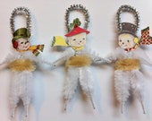 SNOWMAN cute family CHRISTMAS vintage style chenille ORNAMENTS set of 3