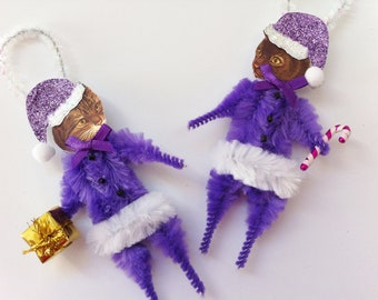 CAT CHRISTMAS ORNAMENTS Santa Claus cat ornaments purple Santa kitty cats vintage style chenille ornaments set of 2