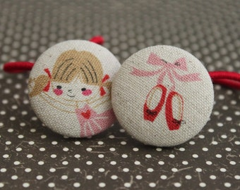 Pretty Ballerina and shoes-------2 ponytail holders
