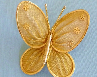 Mesh Floral Butterfly Vintage Pin Pendant