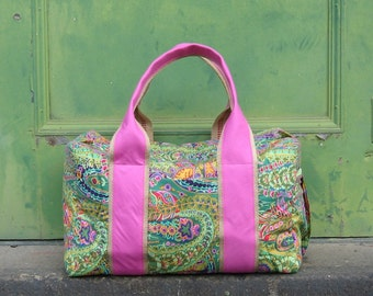 Weekender Duffel Bag in Green Paisley with Pink Handles made to order