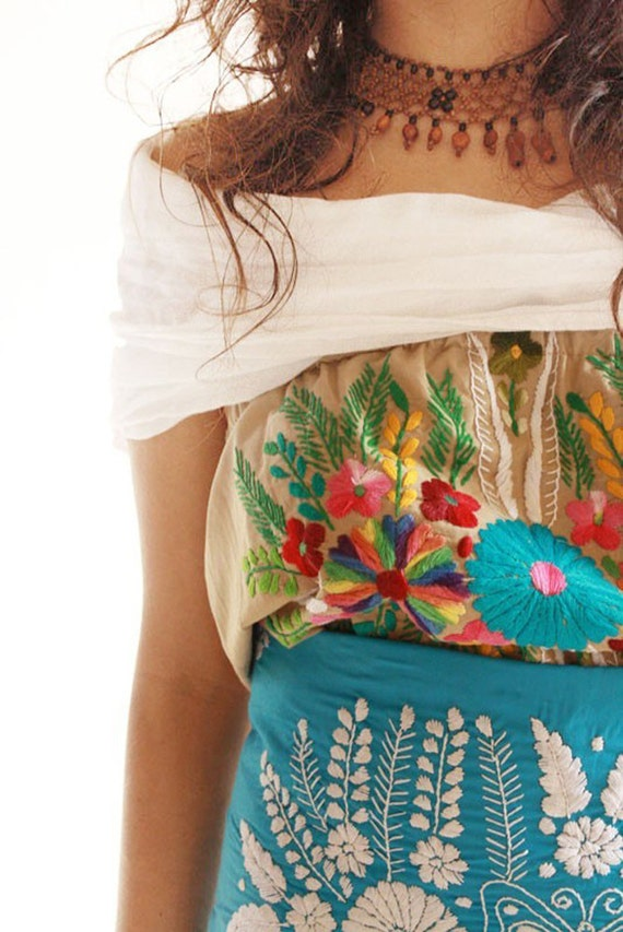 Nature lover embroidered goddess mexican fiesta by