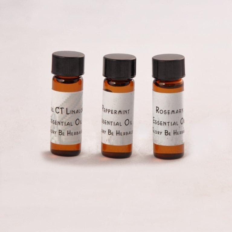 Set of Invigorating Essential Oils Peppermint Basil Rosemary One Dram Each