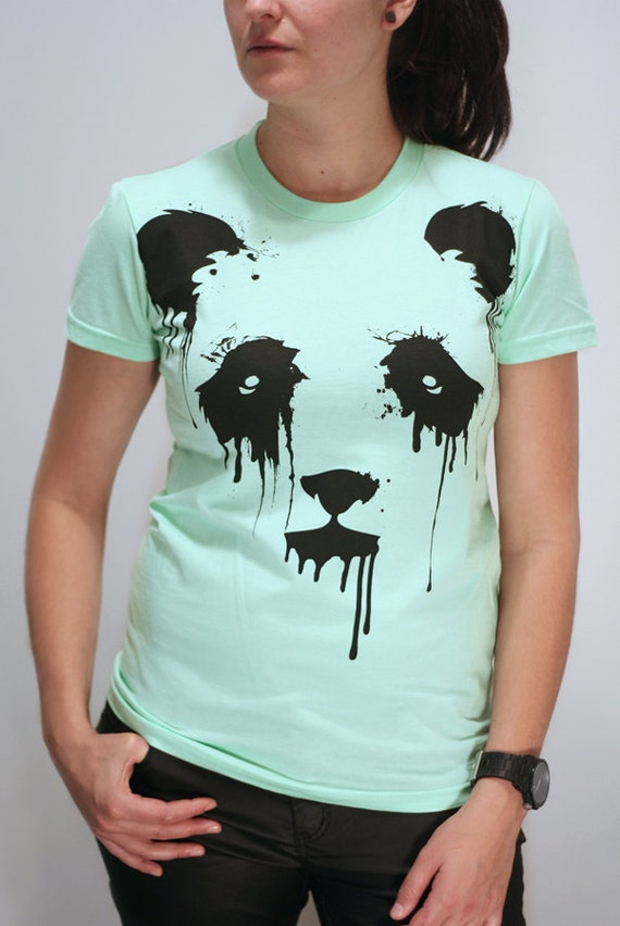 Vanishing Panda - American Apparel Womens t shirt ( Panda t shirt )