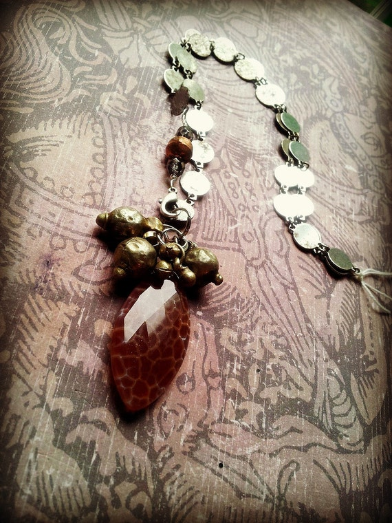 Tribal Fusion Necklace - Fire Jasper and Odissi Beads