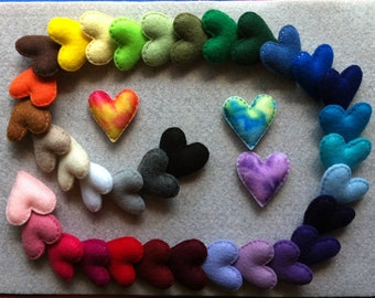 One felt heart you choose the size and color