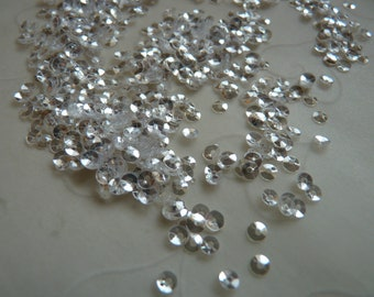 New Item, Bridal Wedding Gown Sequins -- 7g of 3 mm Round Cupped Sequins in Super Sparkle Clear Color