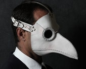 Plague Doctor's mask in white leather Classic