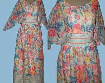 Vintage 70s Rose Print Floral Voile Maxi Dress S