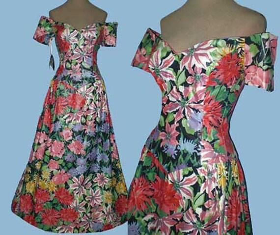 Vintage 80s Floral Garden Party Dress Designer NOS S