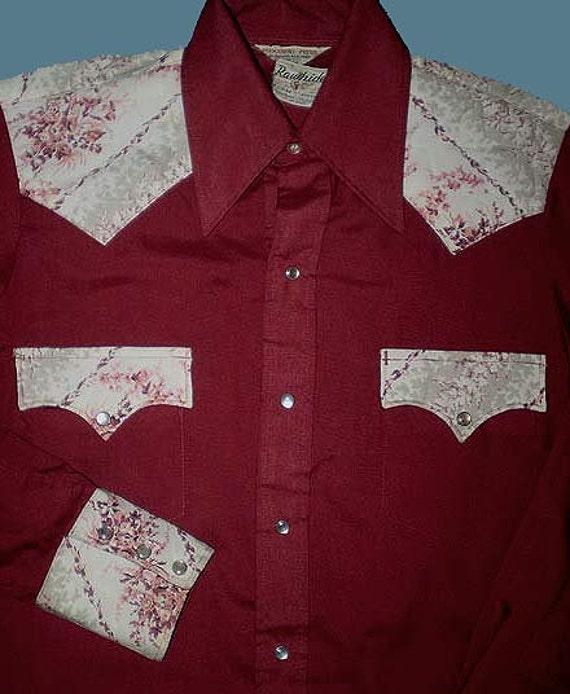 Vintage 70s Pearl Snap Western Cowboy Shirt S