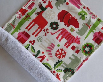 Christmas Yuletide Zoo Animals Baby Burp Cloth