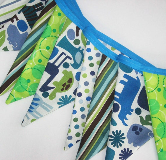 2D Zoo Animals Fabric Bunting Banner - Party Flags or Room Decor