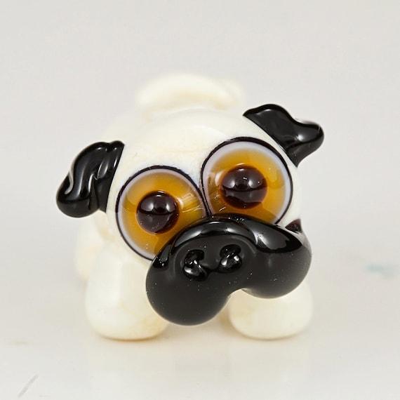 Fawn Pug Lampwork Glass Dog Bead