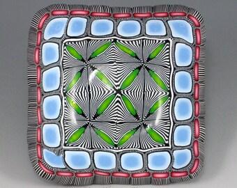 Polymer Clay Ring Bowl, Blue, Green, Pink, Black, White