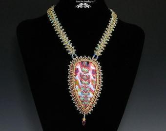 Natasha Pendant, Pink, Blue, Polymer Clay, Bead Embroidery