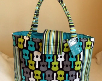 Large Groovy Guitars Diaper Bag Tote TOO CUTE