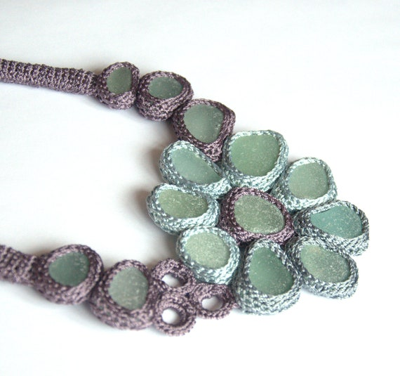 Bib necklace, seaglass jewelry, beach Weddings 14 sea glass lavender blue statement textile collar crochet OOAK UK Birthday  gift her