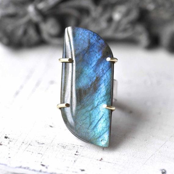 Ring - Labradorite - Sterling silver - blue - 14 kt gold - size 6,25 - ooak