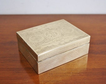 Vintage brass asian box with lid