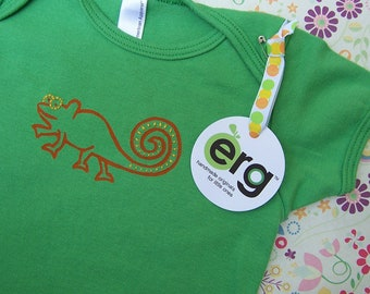 Chameleon Baby Bodysuit, Infant Creeper, One Piece Snapsuit, 6-12 or 12-18 Month Green Short-Sleeve, Screen Printed and Hand Stitched