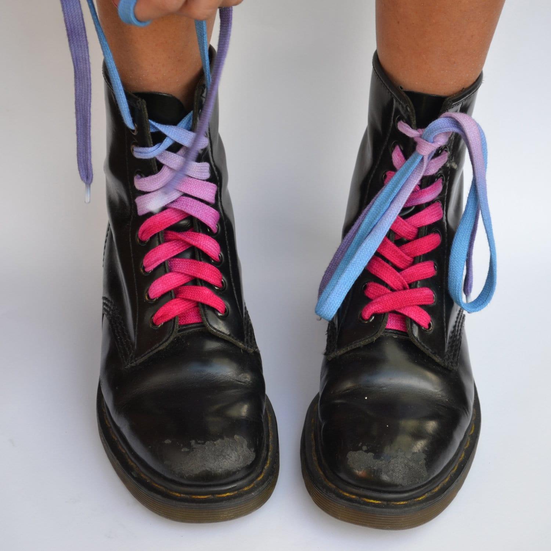 pink blue purple shoe laces