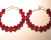 Crimson  Red Swarovski Crystal Gold Hoop Earrings