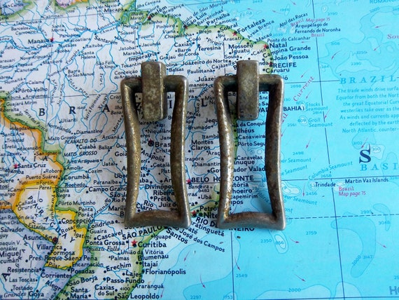 BIG sale 20% off use code THANKS20   -  2 small mid century vintage distressed metal pull handles includes hardware
