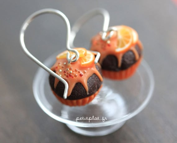 Cupcake Earrings - Chocolate and Orange -  Cupcake Collection