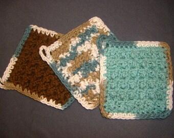 Teal and Brown - Three Bumpy Cotton Washcloths Dishcloths