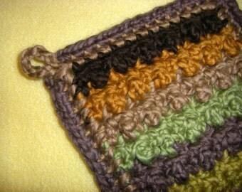 Striped Deluxe Organic Cotton Washcloth - earth tones