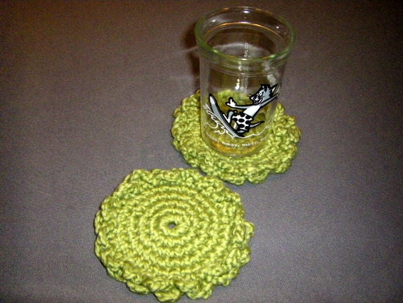 Four Pistachio Green Organic Cotton Flower Coasters Set, handmade crochet