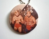 1970's Wrestling Necklace with Wrestlers Tojo Yamamoto and Jerry Jarret