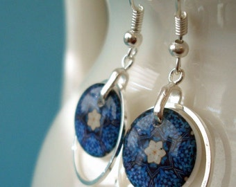 kaleidoscope hoop earrings, resin earrings,  forget me not earrings, gifts under 20