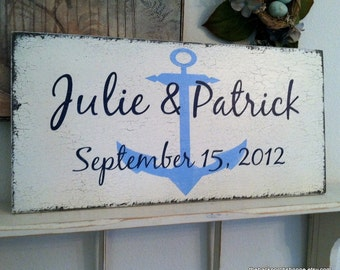 WEDDING SIGNS, Nautical Signs, Bride and Groom Signs, Mr. and Mrs. Signs, Anchor Sign, Rustic Wedding Signs, 12 x 24